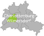 Berlinkarte mit der Aufschrift Charlottenburg-Wilmersdorf