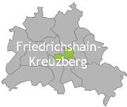 Berlinkarte mit der Aufschrift Friedrichshain-Kreuzberg