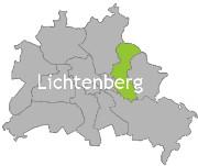 Berlinkarte mit der Aufschrift Lichtenberg