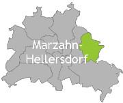 Berlinkarte mit der Aufschrift Marzahn-Hellersdorf