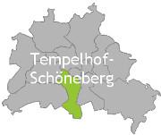 Berlinkarte mit der Aufschrift Tempelhof-Schöneberg