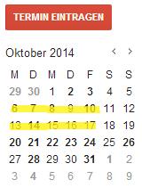Kalender mit Markierung Grundschulanmeldezeitraum