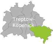 Berlinkarte mit der Aufschrift Treptow-Köpenick