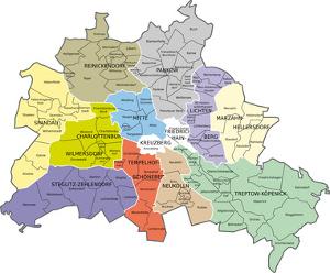 Einzungsgebiete der Berliner Grundschulen - Karte der Berliner Bezirke und Ortsteile