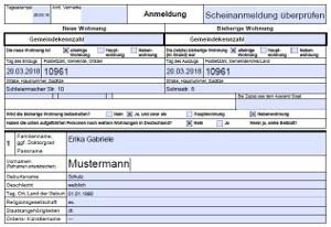 Scheinanmeldung - Formular Anmeldung bei der Meldebehörde